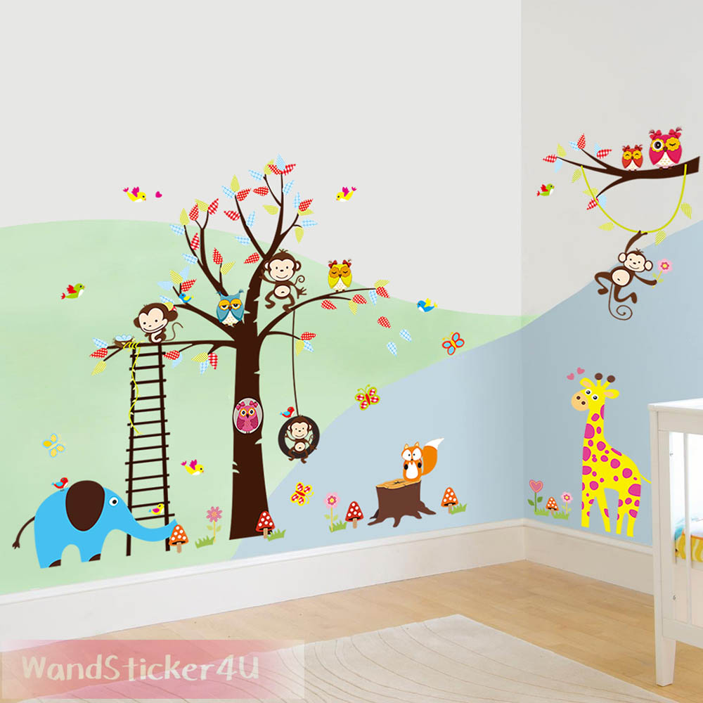 wandtattoo kinderzimmer baum afrika wald tiere zoo dschungel wandsticker kinder ebay. Black Bedroom Furniture Sets. Home Design Ideas