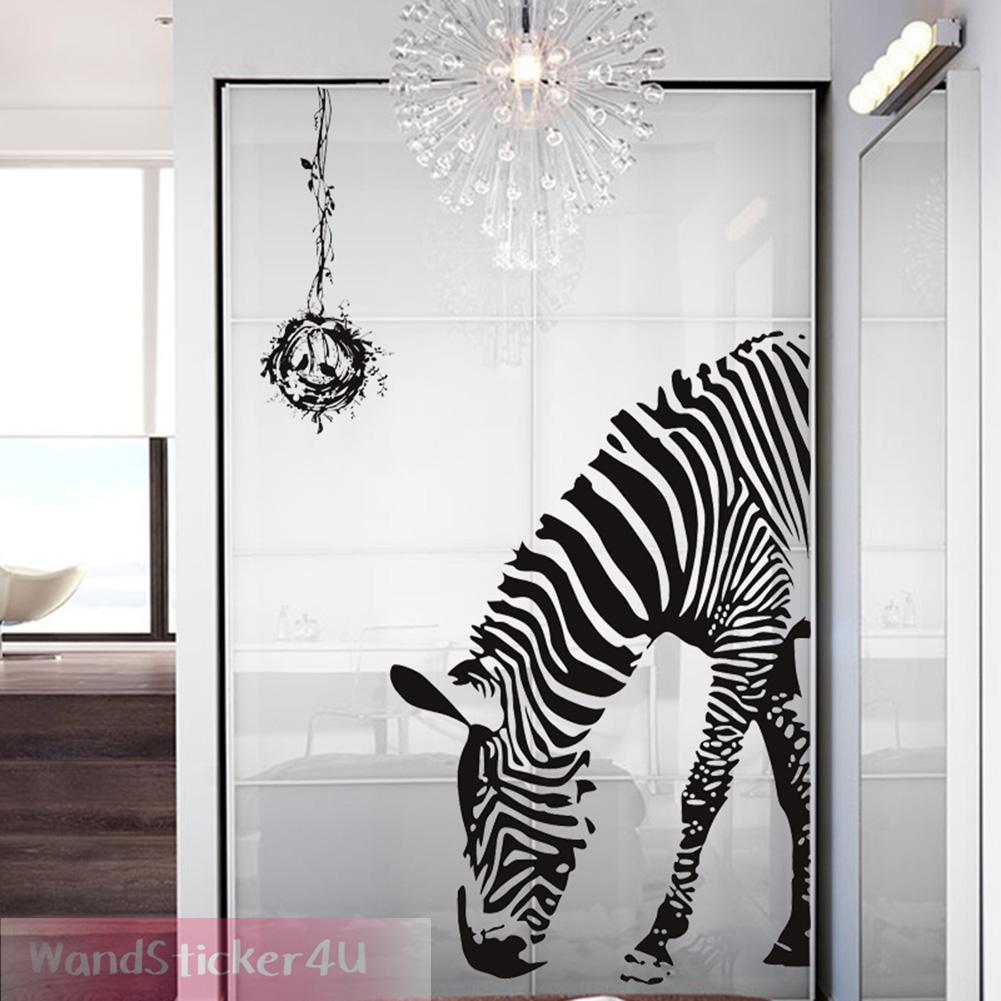 wandtattoo wohnzimmer zebra schwarz pferd vogelnest afrika wandaufkleber deko l ebay. Black Bedroom Furniture Sets. Home Design Ideas