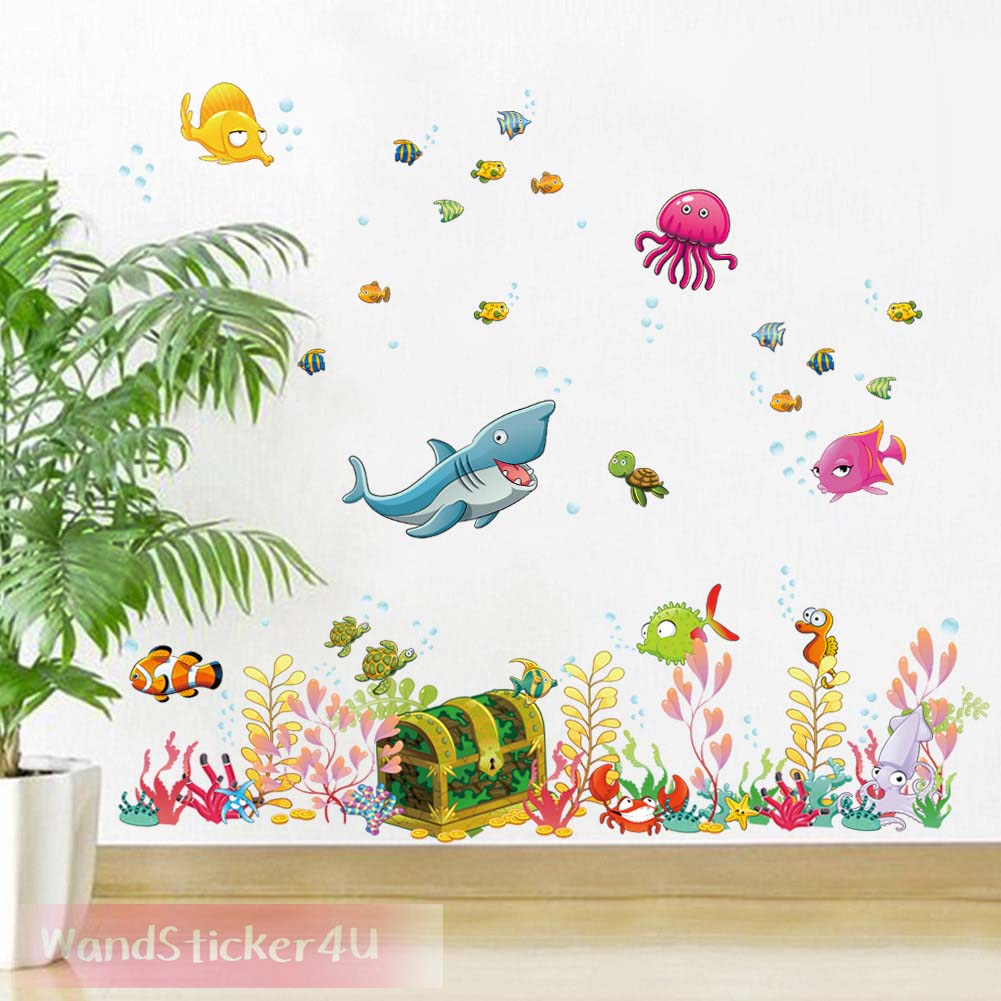 wandtattoo fische unterwasserwelt kinderzimmer bade. Black Bedroom Furniture Sets. Home Design Ideas