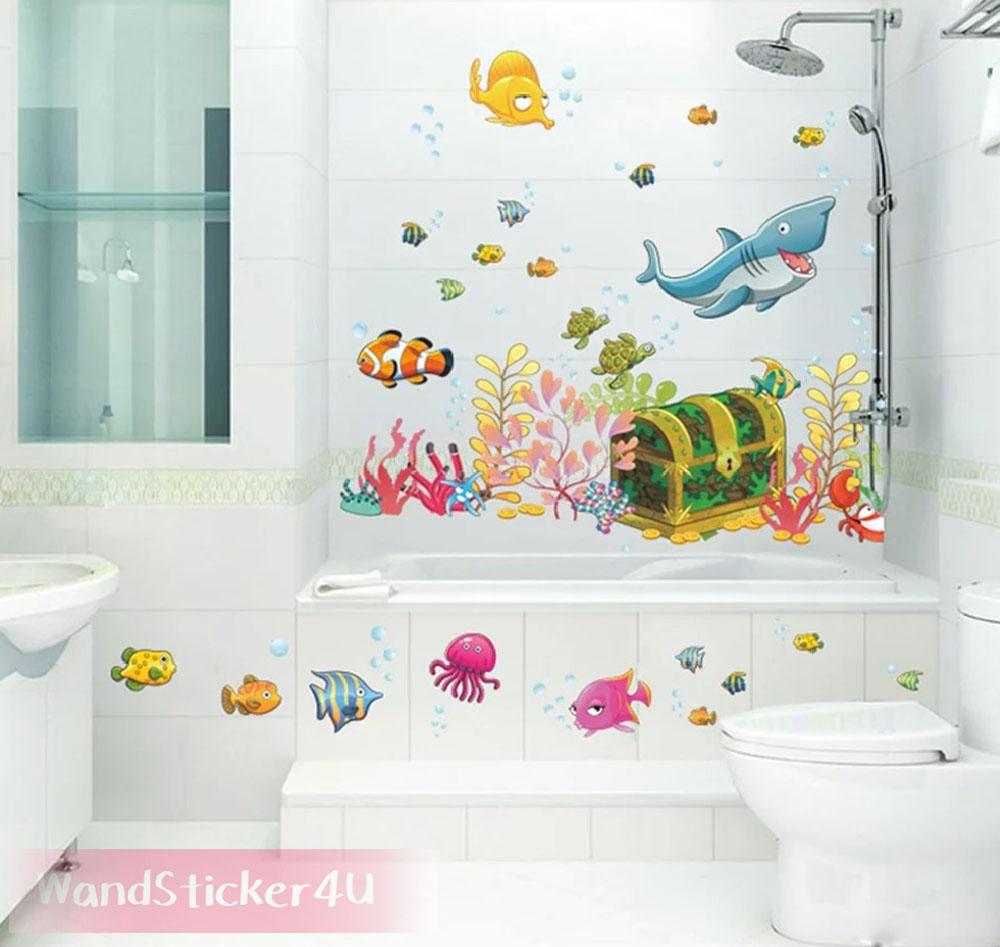wandtattoo fische unterwasserwelt kinderzimmer bade fliesen schatztruhe aquarium. Black Bedroom Furniture Sets. Home Design Ideas