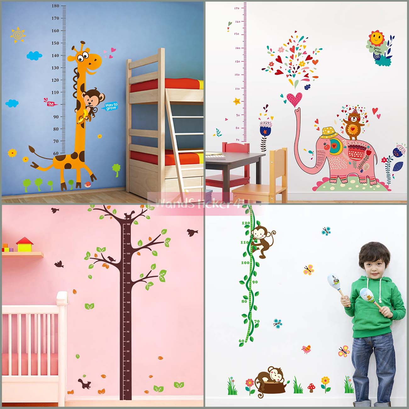 wandtattoo kinderzimmer messlatte wald tiere zoo dschungel wandsticker kinder ebay. Black Bedroom Furniture Sets. Home Design Ideas
