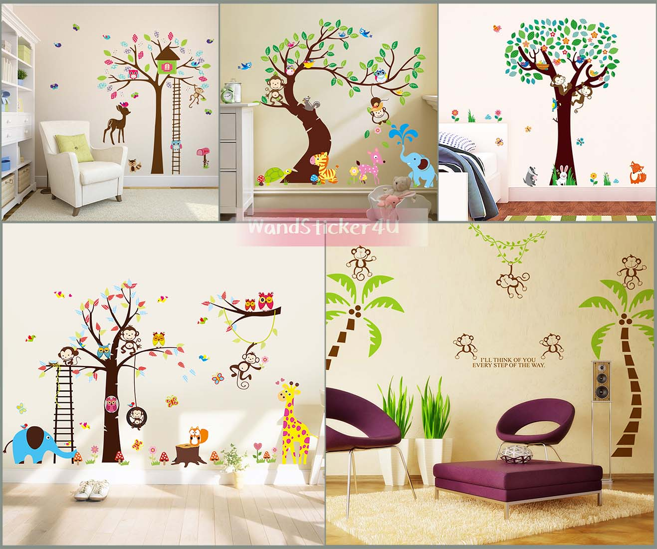 wandtattoo kinderzimmer baum afrika wald tiere zoo dschungel wandsticker kinder ebay. Black Bedroom Furniture Sets. Home Design Ideas