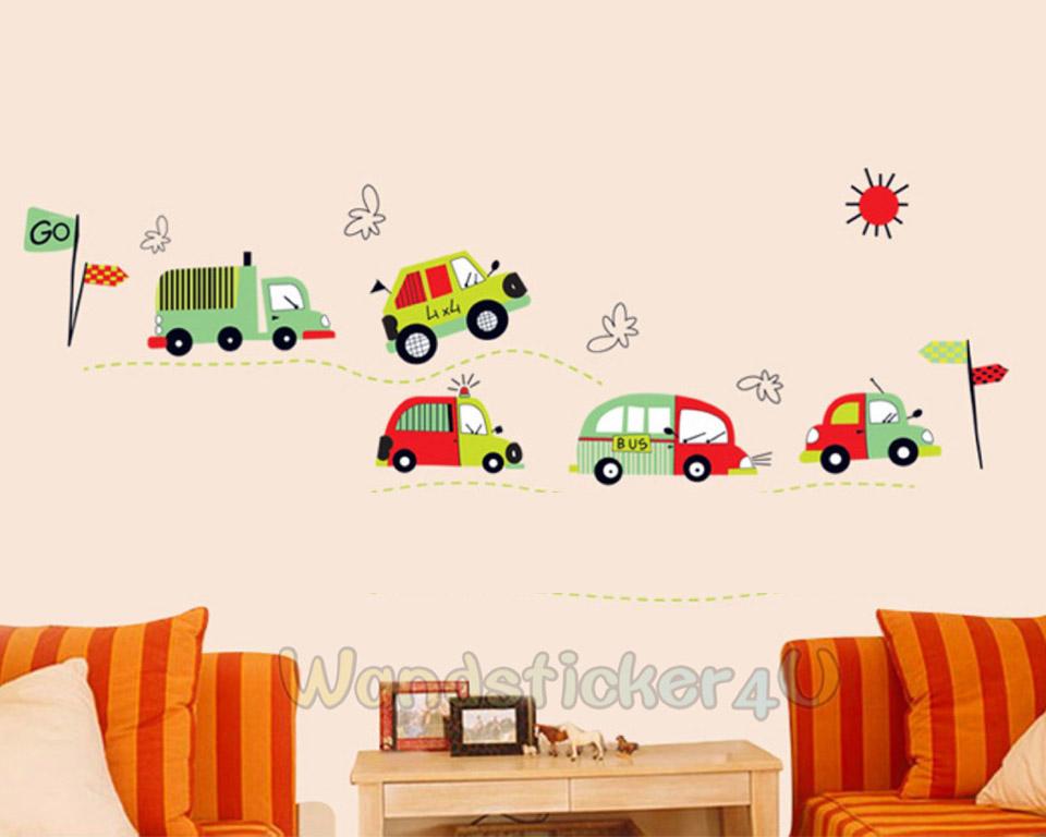 Wandsticker set auto fuhrpark fahrzeuge wandtattoo for Kinderzimmer fahrzeuge